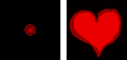 Low-pass filtered FFT (left) and heart (right)