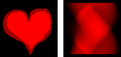 Heart (left) and sinogram with 180 projections (right)