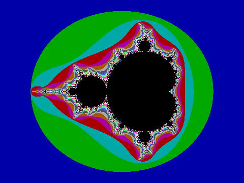 Mandelbrot set using the default VGA 256 color palette