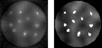 Figure 3. PDART at iterations 8 (left) and 150 (right).