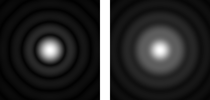 PSF of a circular pinhole, far away (left) and close by (right)